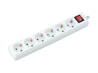 Regleta Zapatilla Eléctrica 6 Lugares 10A Cable Largo 1,5 M Con Interruptor