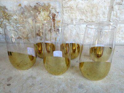 Nwt Pier 1 Conjunto de 6 Vasos Highball Vasos Dorado Aluminio Curvo...