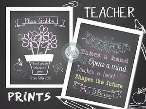 TEACHER GIFTS - Personalised Chalkboard Prints Beresfield Newcastle Area Preview