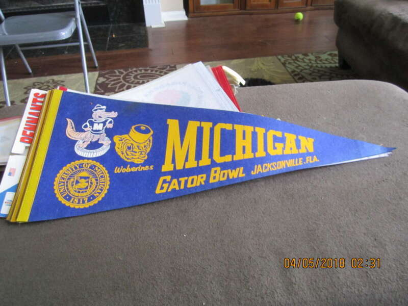 1979 Michigan Gator Bowl Full Size Pennant Bx2 Em