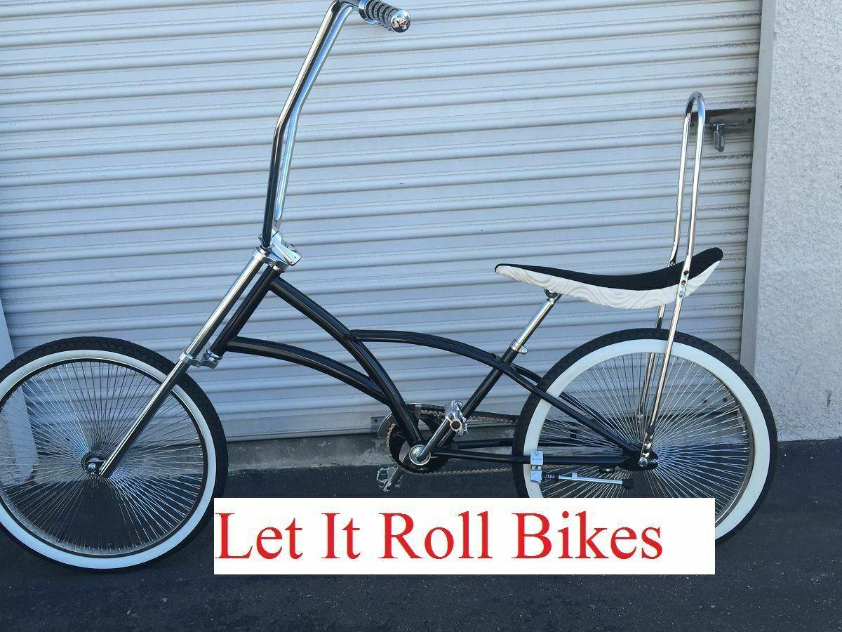 "26"" Black Chopper Lowrider Cruiser Bike 144 Spokes Coaster B"