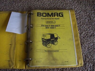 Bomag Trench Compactor Bw 650 850 1050 T Factory Service Shop Repair Manual