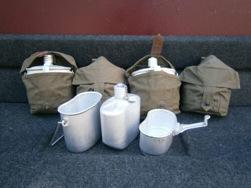 USSR Soviet Army Military Mess Kit, Metal Flask & Kettle 3 in1 Khaki bag camping