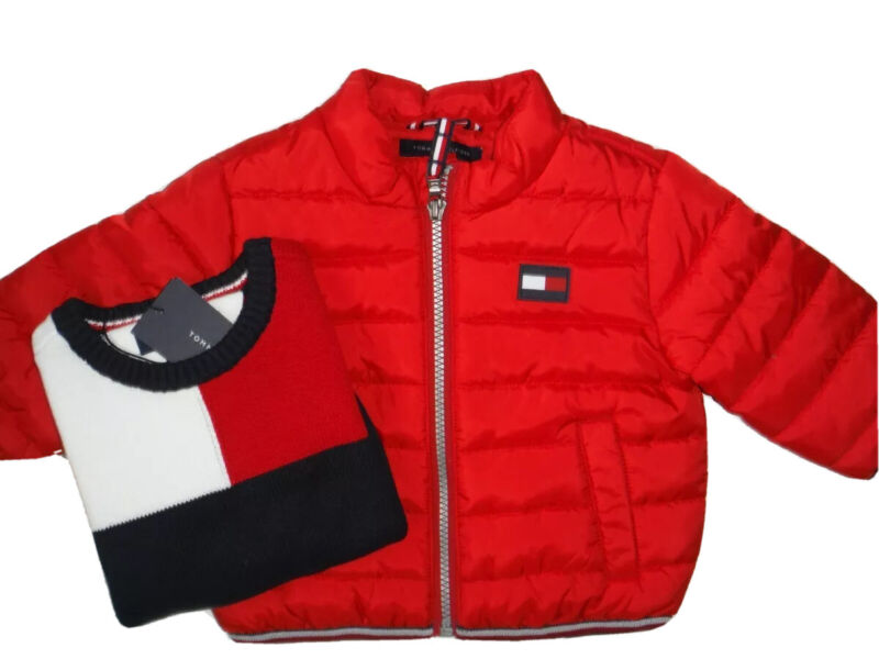TOMMY HILFIGER BABY BOY 2 PC JACKET & SWEATER RED NAVY WHITE SIZE 3-6 MONTHS