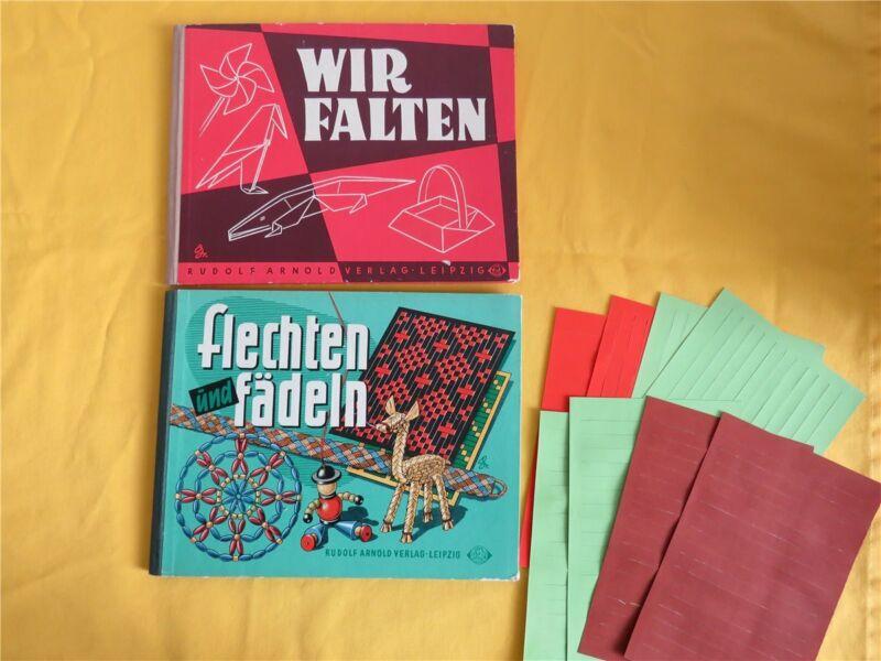 2 x DDR Kinderbuch Bastelbuch - Wir falten &  flechten und fädeln 1960/61