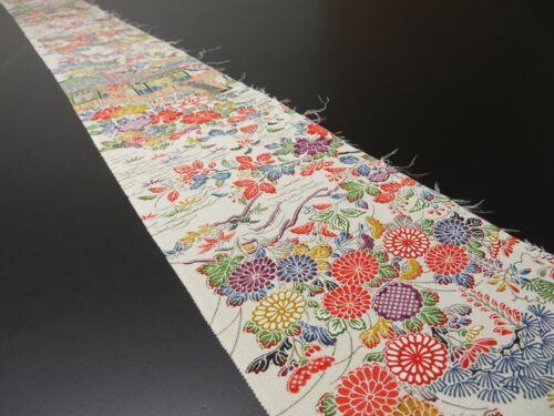 "2K09z60 Japanese Kimono Silk  FABRIC Off-white Japanese imperial garden 76.4"""