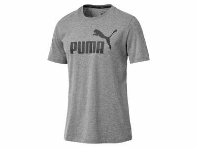 Puma Ess Logo Tee Medium Gray Heather Herren T-Shirt Tee Top  851740-03 - Medium Gray Heather