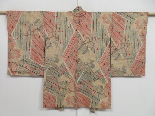 1019i02z870 Vintage Japanese Kimono Silk HAORI Ecru beige