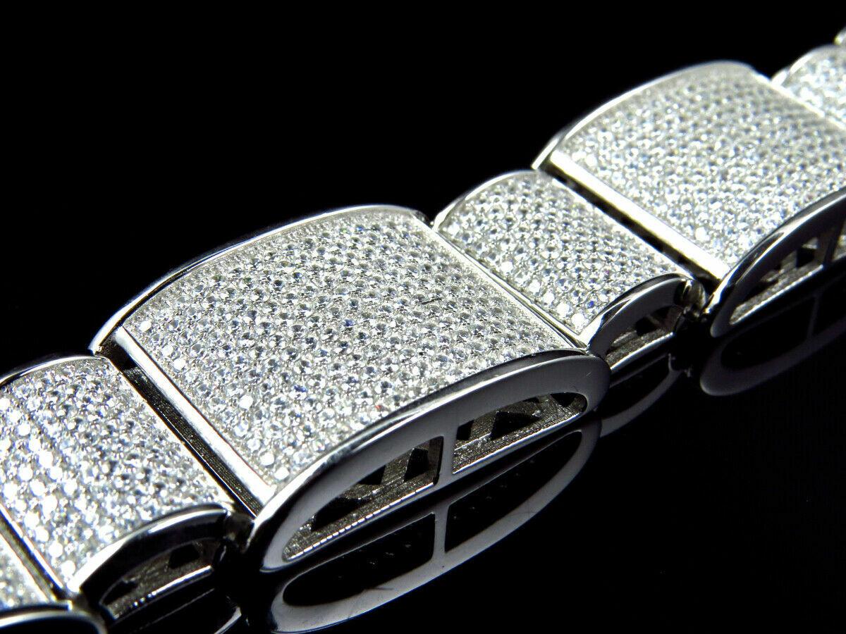 15Ct Round Cut Diamond 14K White Gold Over Men's Exclusive Link Bracelet 4