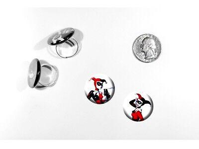 Harley Quinn Batman Super Villain Joker set of 2 adjustable rings](Female Villains Of Batman)