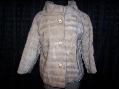 Vintage 50s/60s Faux fur cream short jacket large fancy buttons by ...
