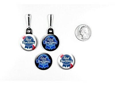 Pabst Blue Ribbon American Style Lager Beer Zipper Pulls w/ Buttons