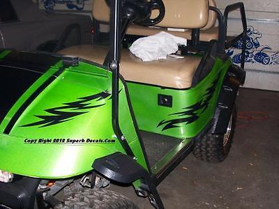 All Make Golf Cart EZGO Club Car Tribal Razor Decals Graphics Decal Set Flame