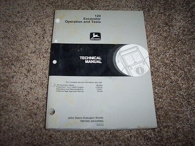 John Deere 120 Excavator Operation Test Shop Repair Technical Manual Tm1659