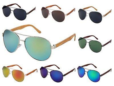 Pilotenbrille Bügel Holz-Look Holzoptik Sonnenbrille Porno-Brille Spiegel-Brille