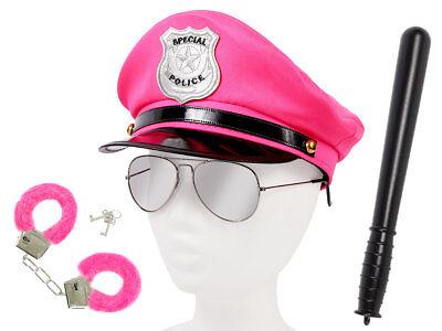 Damen Polizei Set Uniform (KV-115) Brille Plüschhandschellen Schlagstock Mütze (Polizei Kostüm Weiblich)