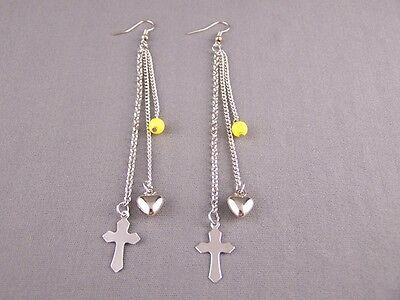 Yellow Silver Cross triple multi chain dangle 4.5