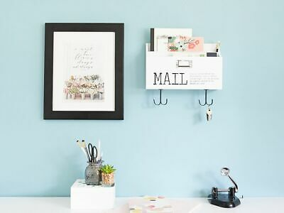 Blu Monaco Mail Organizer Wall Mount with Hooks - Wood Two Tier with Mail Print