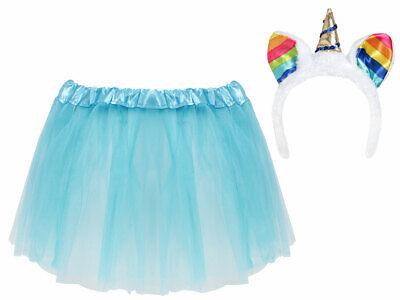 Prinzessinen Kostüm für Mädchen (Kv-160) Haarreif und Tüllrock - Hellblau - Blaue Haare Kostüm