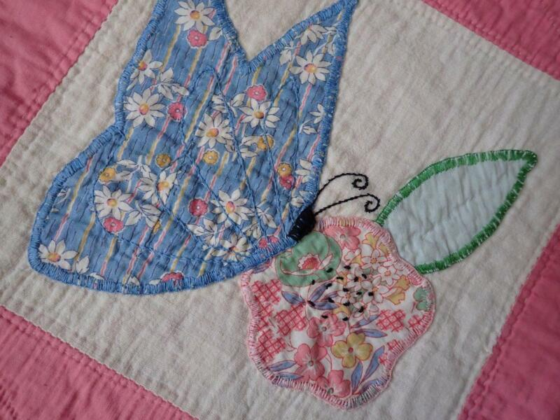 Wonderful! 30s Pink & Cream Feedsack Applique Butterfly & Posies QUILT 92x66