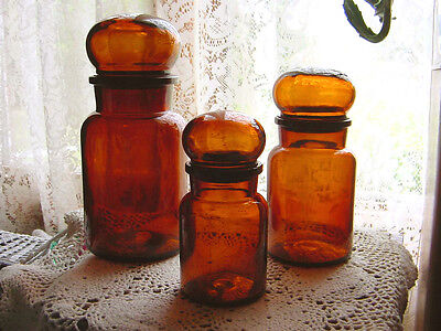 Set Of 3 Vintage Rich Amber Art Deco Glass Apothecary Bottle Jars W Ball Lids