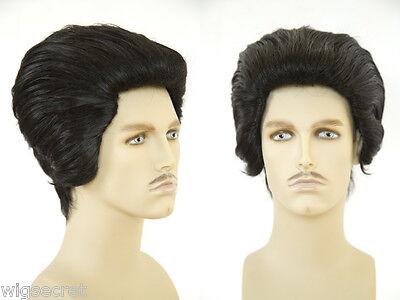 Elvis, Slicked Back hair and Long Side Burns Brunette Straight Costume Men's Wig](Elvis Wig And Sideburns)