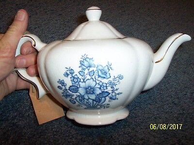Blue Staffordshire Genuine Heatmaster Teapot, England