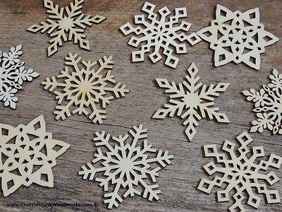 10 qty 3 inch Snowflake Wood Christmas Embellishments Crafts Ornaments Decor DIY