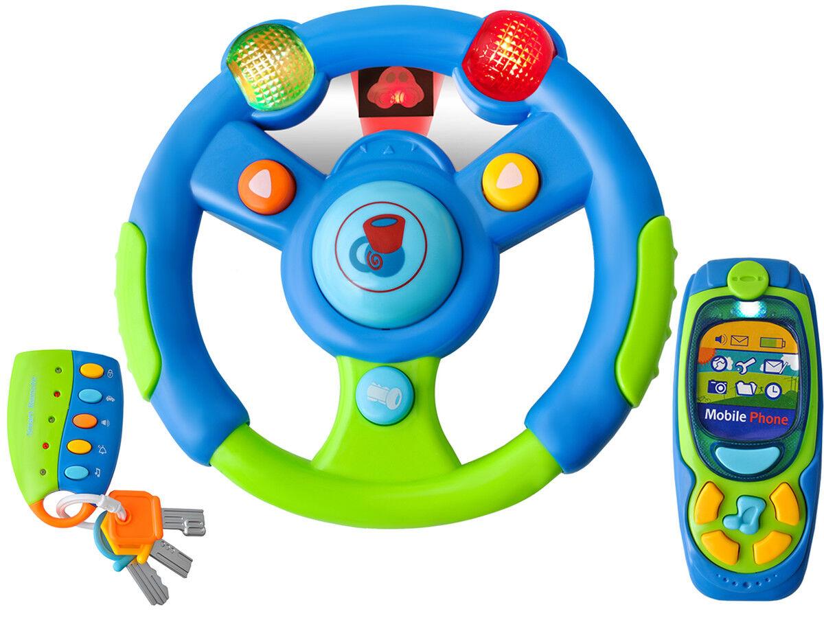 Baby Lenkrad mit Handy Fernbedienung und Schlüssel Set Pink Blau-Grün #4481