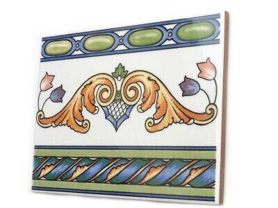 Fliesen Bordüren 20x15cm Bad Bordüren Motivfliese Sizilien T2 cremeweiss bunt