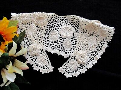 Sweet Vintage Handmade Irish Crochet Lace Collar With Roses - Dated 1938