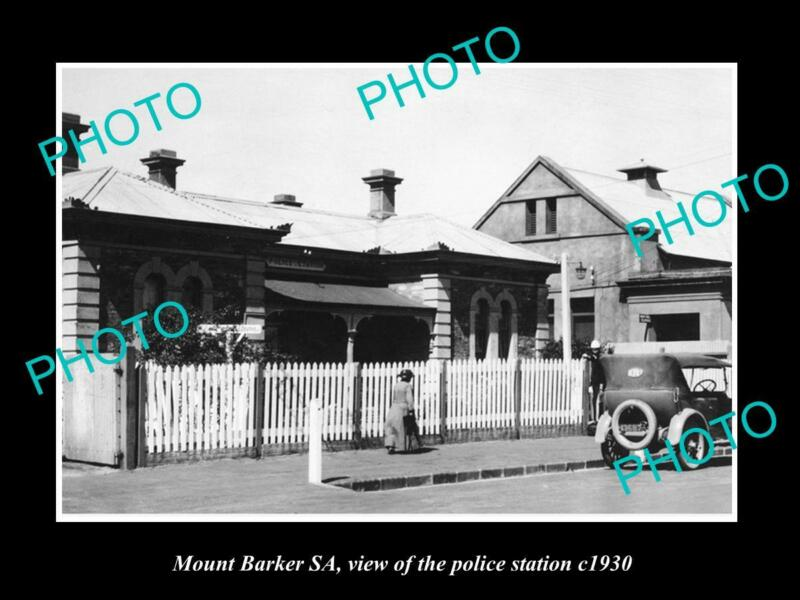 OLD POSTCARD SIZE PHOTO OF MOUNT BARKER SA VIEW OF THE POLICE STATION c1920