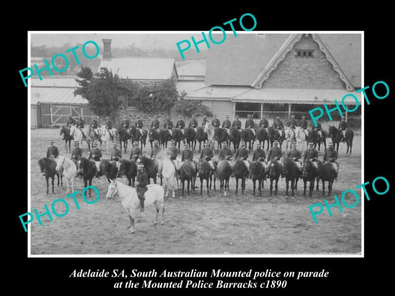 OLD POSTCARD SIZE PHOTO OF ADELAIDE SOUTH AUSTRALIA MOUNTED POLICE PARADE 1890