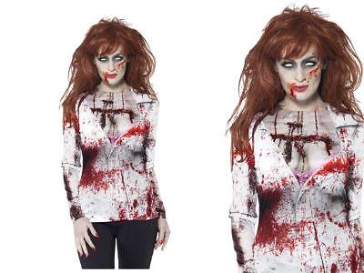 Damen-Zombie Weiblich Top Kostüm T-Shirt Halloween Kostüm Neu M-L ()