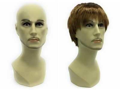 Male Mannequin Head Bust Wig Hat Jewelry Display #MD-JackF1-X