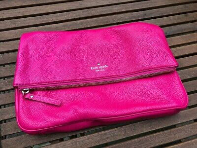 Kate Spade Saturday Leather Hot Pink Cross Body Handbag Clutch Bag
