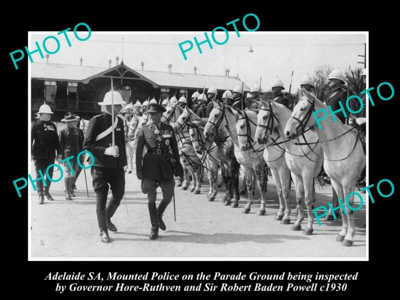OLD 8x6 HISTORIC PHOTO OF ADELAIDE SOUTH AUSTRALIA MOUNTED POLICE PARADE 1930