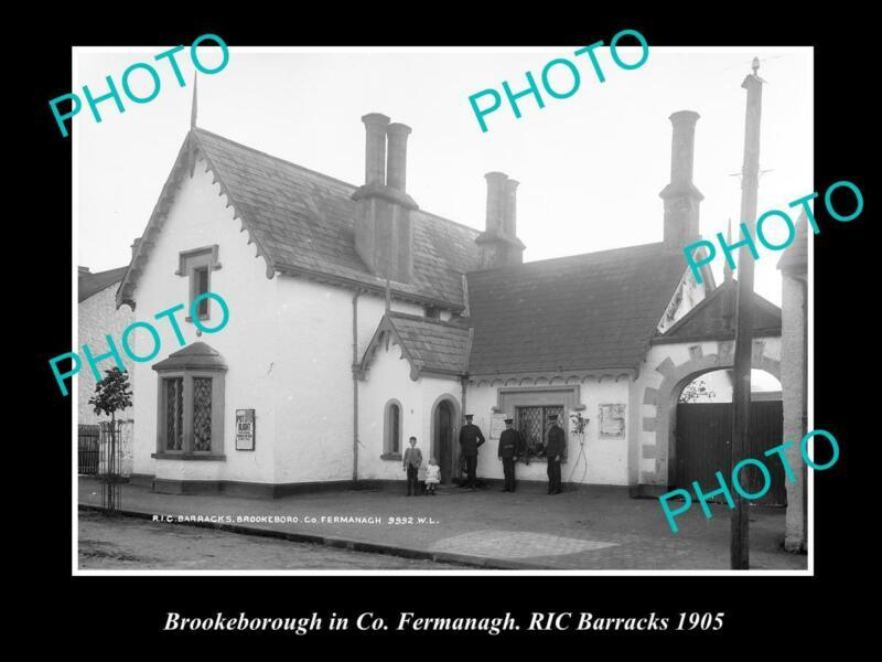 OLD POSTCARD SIZE PHOTO OF IRISH POLICE BARRACKS BROOKEBOROUGH FERMANAGH 1905