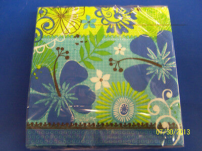 Tropical Breeze Hibiscus Blue Green Luau Beach Party Paper Beverage Napkins](Tropical Napkins)