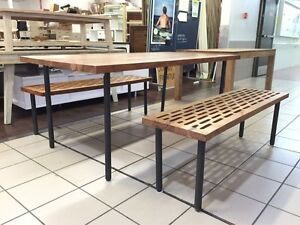 MYLES DINING TABLE + 2 BENCHES SOLID ACACIA TOP Logan Central Logan Area Preview