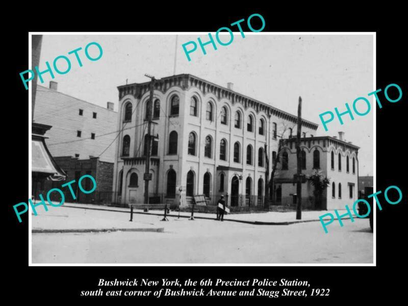 OLD 8x6 HISTORIC PHOTO OF BUSHWICK NEW YORK POLICE 6th PRECINCT STATION c1922