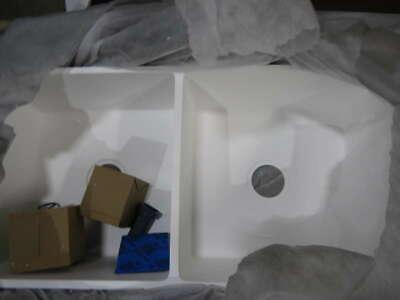 """ANZZI K-AZ223-2A Roine Farmhouse Solid Surface Man Made Stone 35"""" 50/50 Sink"""