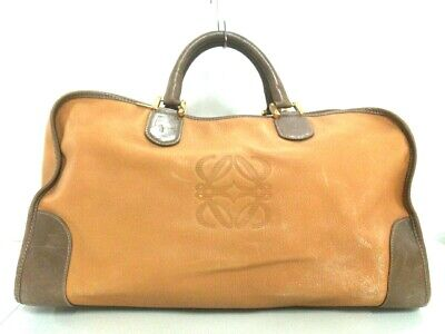 Auth LOEWE Amazona LightBrown Dark Brown Leather Boston Bag