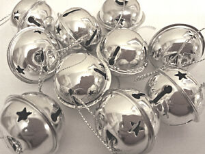 10 Cute Jingle Bells Christmas Tree Decorations Baubles 30mm SILVER Xmas NEW