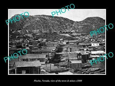 OLD 6 X 4 HISTORIC PHOTO OF PIOCHE NEVADA, VIEW OF THE TOWN & MINES c1880