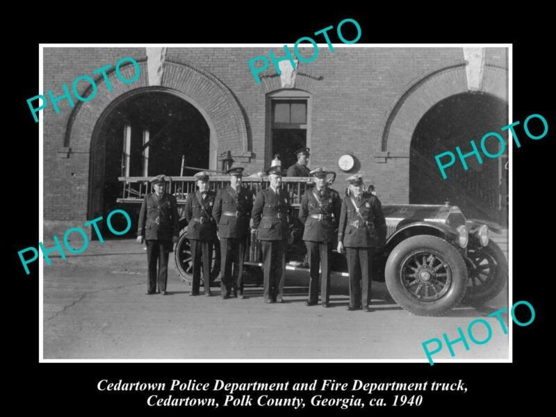 OLD POSTCARD SIZE PHOTO OF CEDARTOWN GEORGIA THE FIRE & POLICE DEPARTMENT 1940