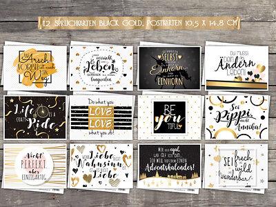 12 Spruchkarten - Postkarten, schwarz gold mit Glanz - Effekten, freche Sprüche