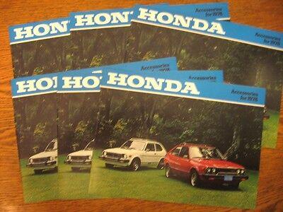 1978 Honda Accessories Dealer Sales Brochure LOT (6) pcs, Accessory Accord Civic