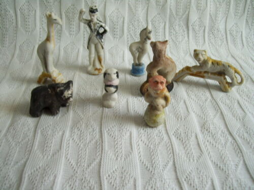 8 ANTQUE CERAMIC ANIMAL CAKE TOPPERS, 1930