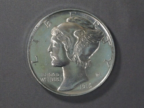 "Large Mercury Dime Novelty Coin Medal 1916-D - 3"" Oversize Decorative"